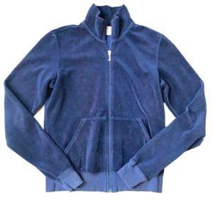 Juicy Couture Navy Velour Zip Front Jacket - L